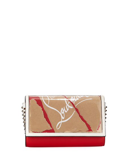 CHRISTIAN LOUBOUTIN Paloma Kraft Spiked Printed Textured-Leather And Pvc Clutch, Brown/Red