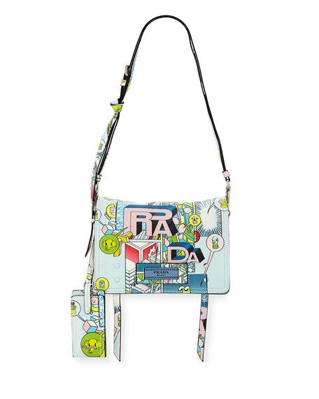 Prada Etiquette Small Comic Print Shoulder Bag