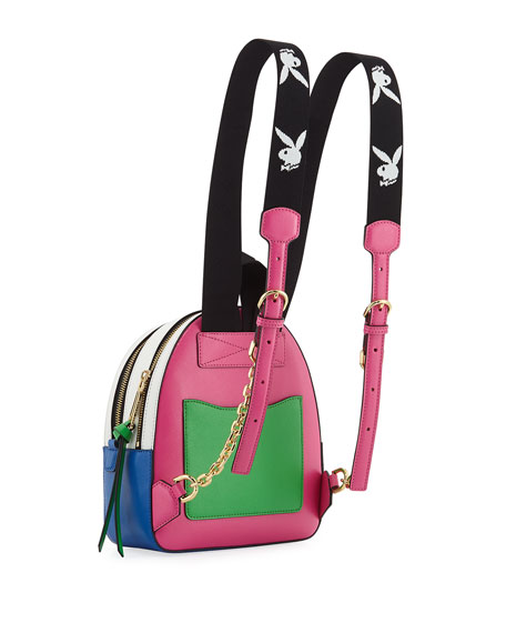Playboy Bunny Colorblock Leather Backpack