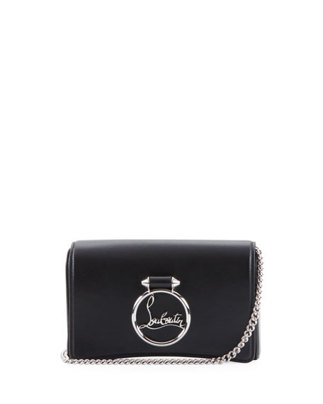 Christian Louboutin Ruby Lou Leather Logo-Ring Clutch Bag