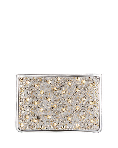 Loubiclutch Glitter Spikes Clutch Bag
