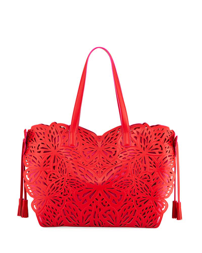 Liara Laser-Cut Leather Butterfly Tote Bag