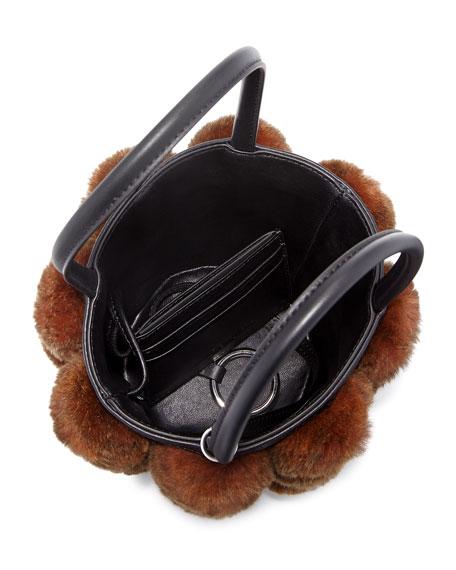 Roxy Cage Mini Bucket Bag w/ Shearling Pompoms
