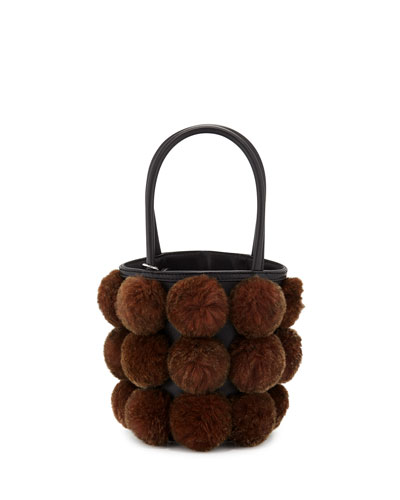 Roxy Cage Mini Bucket Bag w/ Shearling Pompoms