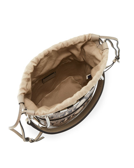 Roy Mini Python-Print Bucket Bag