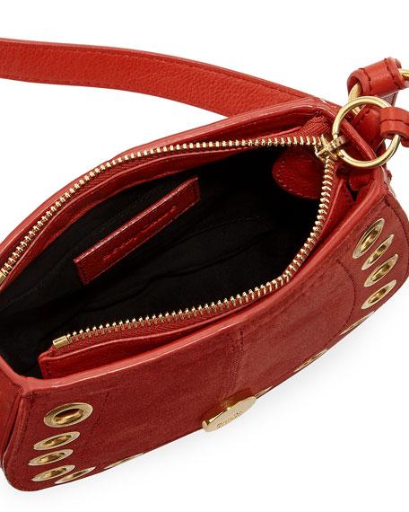 Kriss Mini Grommet Suede Saddle Shoulder Bag