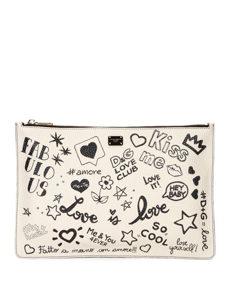DG Graffiti Small Leather Crossbody Bag