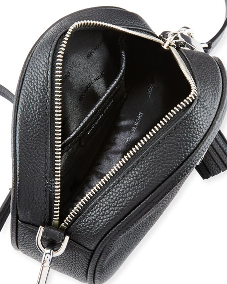 Canteen Medium Round Leather Crossbody Bag - Silvertone Hardware