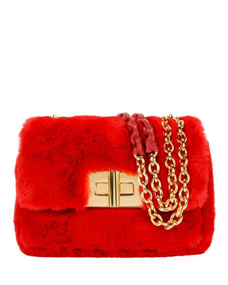 Natalia Large Faux-Fur Shoulder Bag, Red