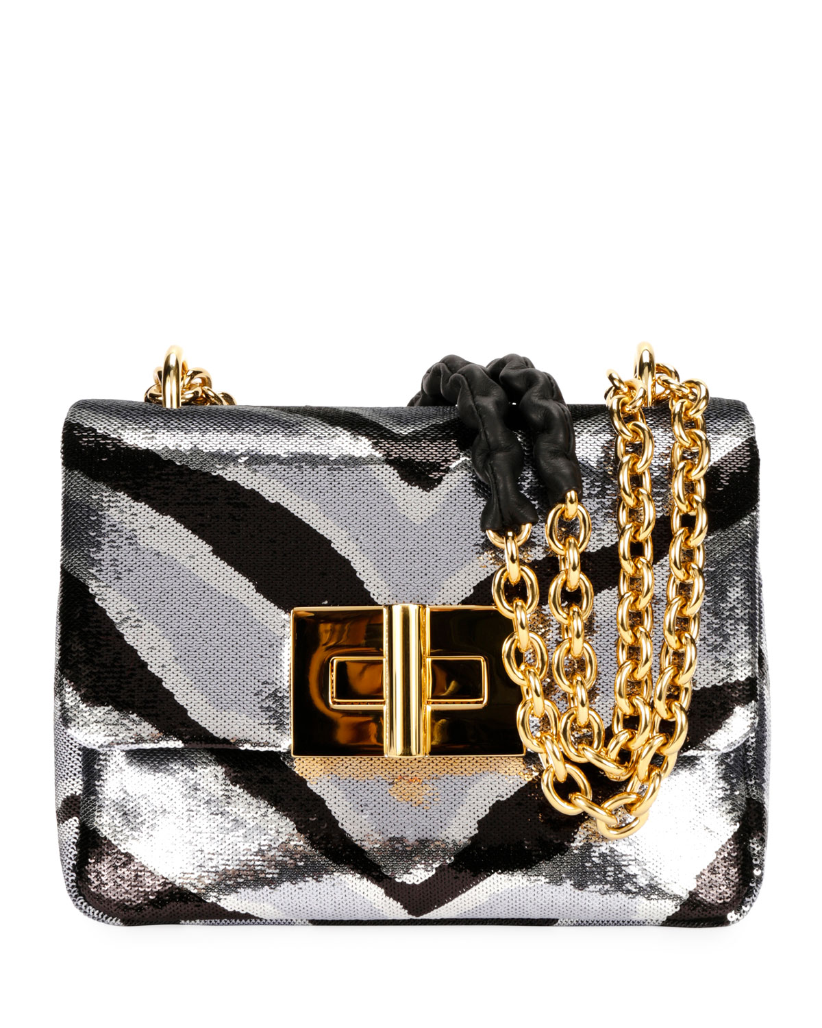 Natalia Zebra Sequins Large Shoulder Bag by Tom Ford