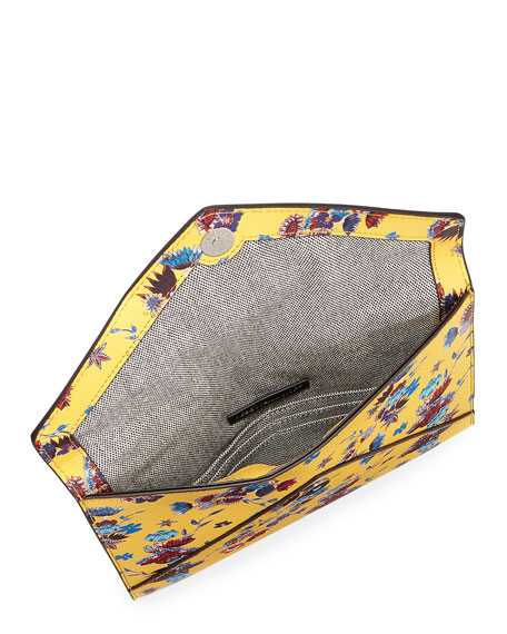 Leo Saffiano Leather Floral Envelope Clutch Bag