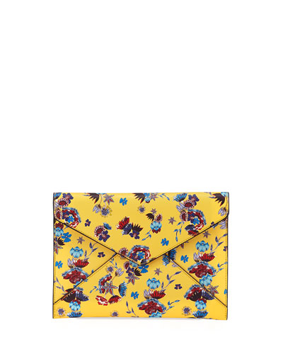 Leo Saffiano Leather Floral Envelope Clutch Bag