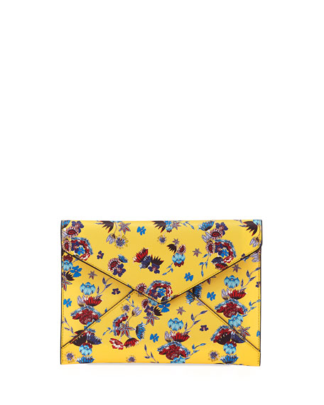 Rebecca Minkoff Leo Saffiano Leather Floral Envelope Clutch