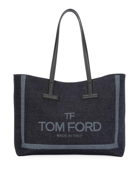 TOM FORD Small T Printed Denim Tote Bag