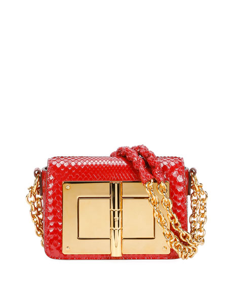Natalia Small Python Vernis Chain Shoulder Bag