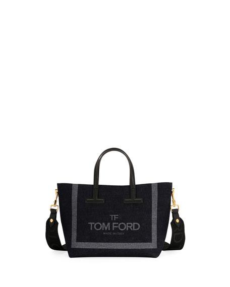 T Tote Mini Denim Logo Crossbody Bag