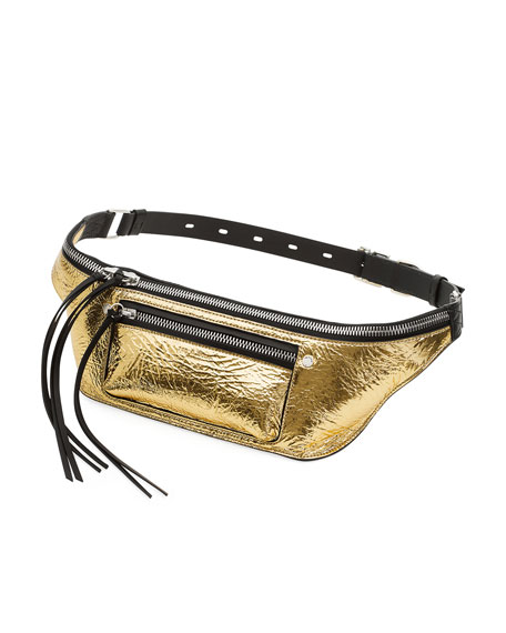 Elliot Metallic Leather Fanny Pack/Belt Bag