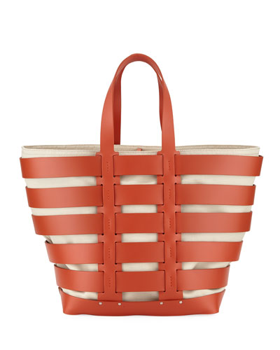 Cage East-West Sleek Leather & Canvas Tote Bag