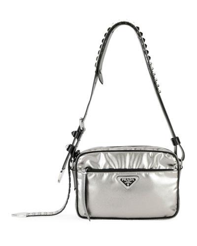 Prada Black Nylon Shoulder Bag with Studding, Silver