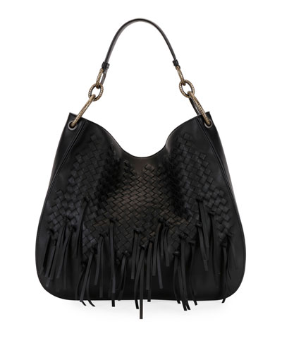 Large Loop Fringe Intrecciato Leather Hobo Bag