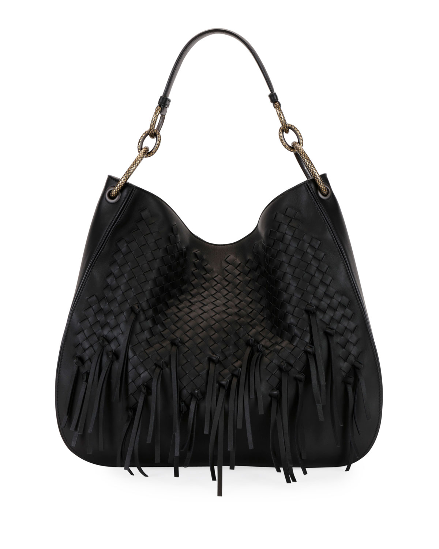 d5a776d28e Bottega Veneta Large Loop Fringe Intrecciato Leather Hobo Bag ...