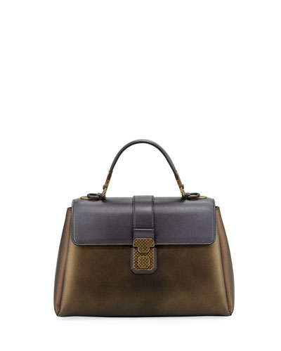 Piazza Metallic Leather Top-Handle Satchel Bag