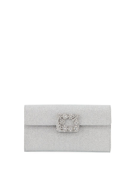 Roger Vivier Floral Crystal-Buckle Glitter Fabric Envelope Clutch