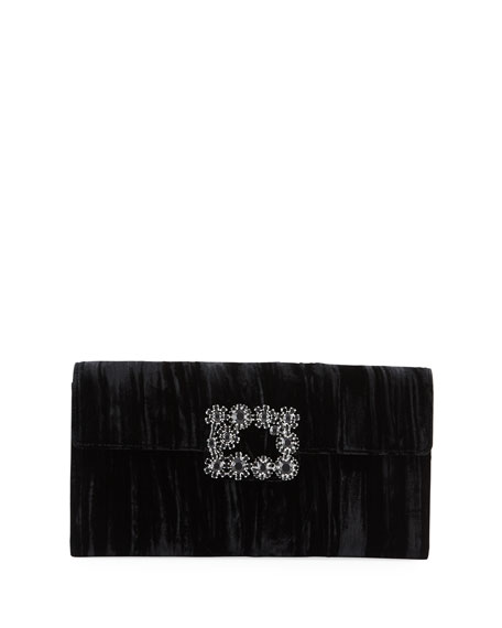 Floral Crystal-Buckle Velvet  Envelope Clutch Bag