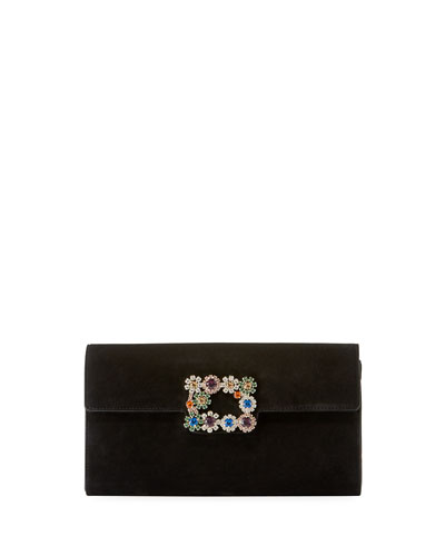 Floral Crystal-Buckle Suede Envelope Clutch Bag