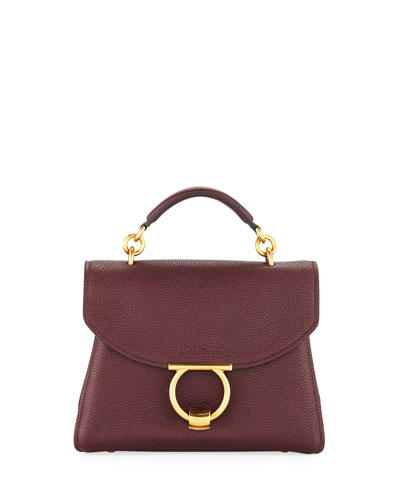 Small Gancio Vela Soft Flap Top Handle Bag, Wine