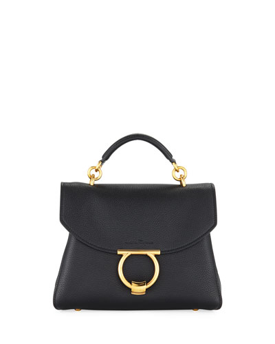 Small Gancio Vela Soft Flap Top Handle Bag, Nero