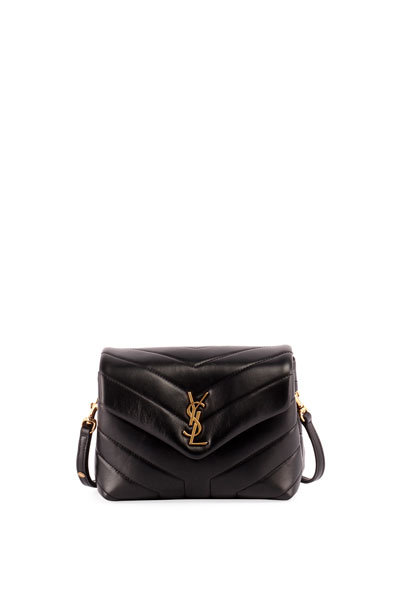 Loulou Monogram YSL Mini V-Flap Calf Leather Crossbody Bag - Lt. Bronze Hardware