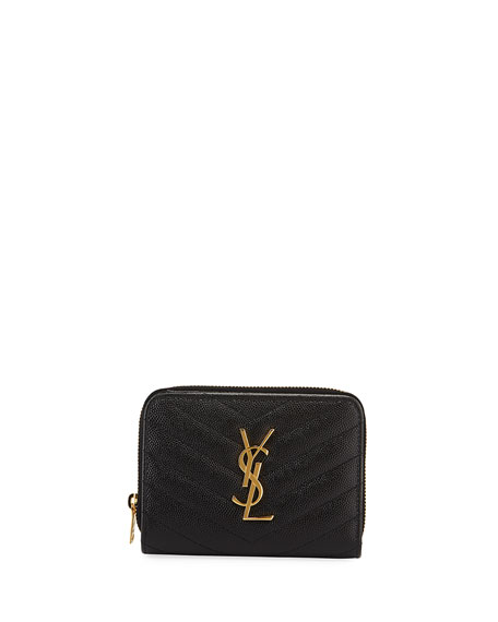 Saint Laurent Mini Monogram YSL Textured Zip Wallet