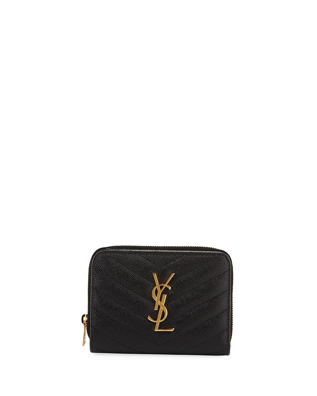 7f730dbf3c1e Saint Laurent Mini Monogram YSL Textured Zip Wallet