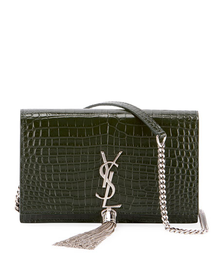 Saint Laurent Kate Monogram YSL Tassel Croco Wallet 496a4016bc79a