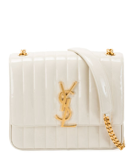 Vicky Monogram YSL Large Quilted Patent Chain Crossbody Bag
