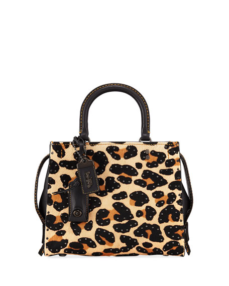 Coach 1941 Rogue 25 Haircalf Leopard Tote Bag