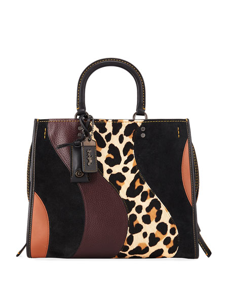Coach 1941 Rogue Patchwork Leopard Tote Bag