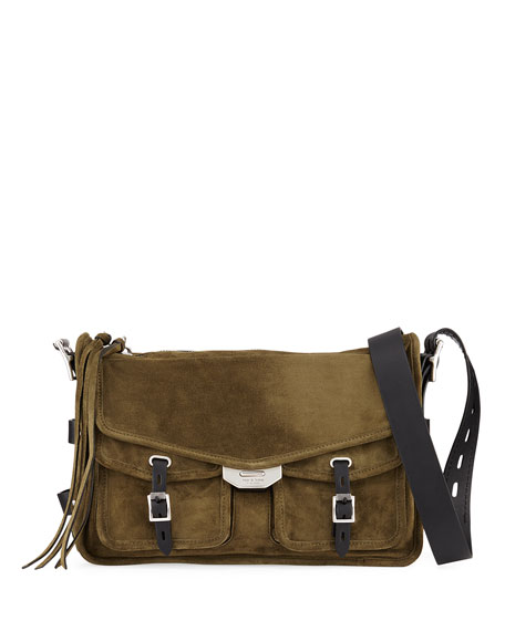 Field Suede/Leather Crossbody Messenger Bag in Olive Night Suede