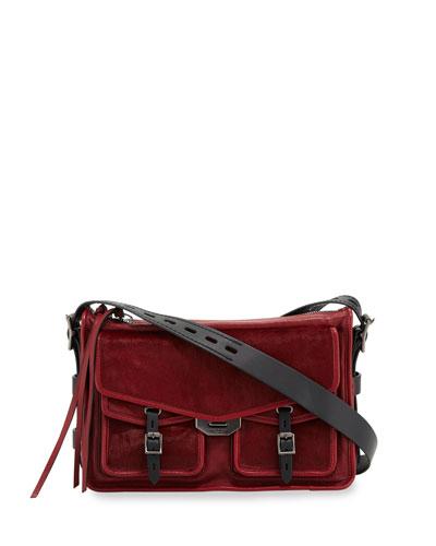 Field Leather & Calf Hair Messenger Crossbody Bag