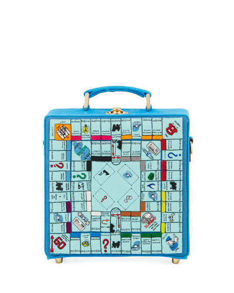 Paris Monopoly Game Board Box Shoulder Bag, Blue Pattern