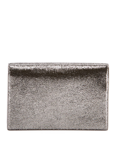 Kate Monogram YSL Small Crackled Metallic Wallet on Chain - Silver Hardware