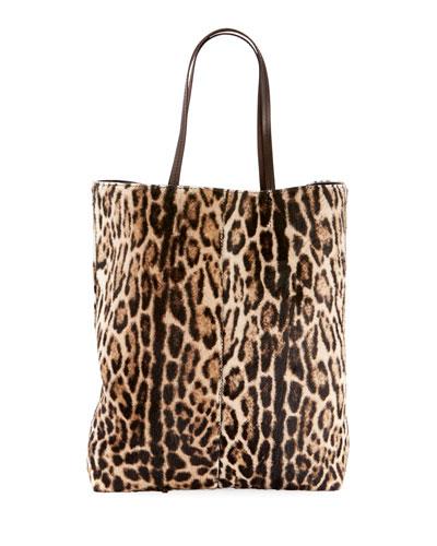 Leopard-Print Hair Calf Tote Bag