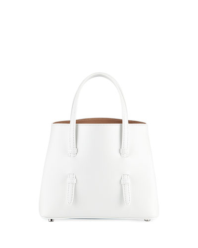 Smooth Leather Tote Bag with Flower Strap