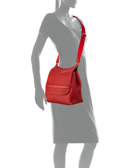 Sideby Grained Leather Shoulder Bag