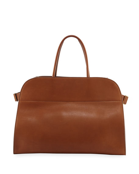 The Row Margaux 17 Smooth Saddle Leather Tote Bag oDXqKhp8