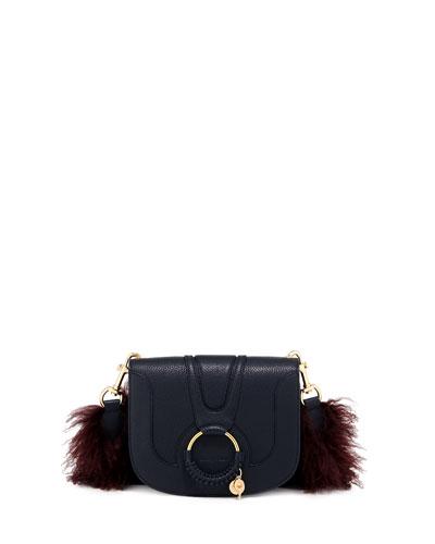 Hana Small Leather Crossbody Bag with Fur