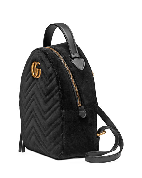 Gucci Gg Marmont 2.0 Matelasse Quilted Velvet Backpack - Black