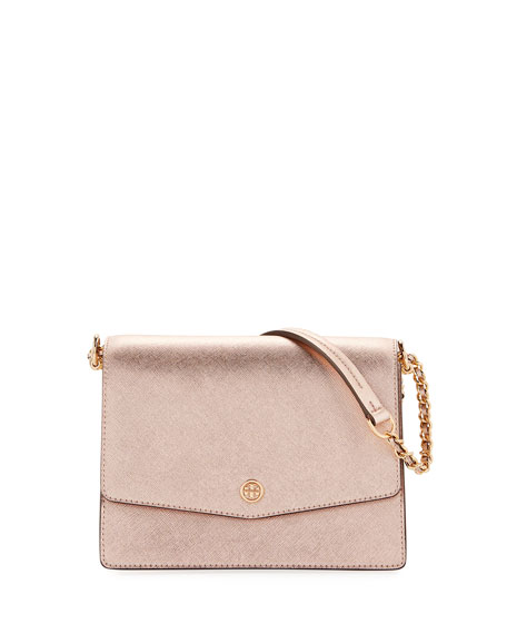 Robinson Metallic Leather Flap Shoulder Bag