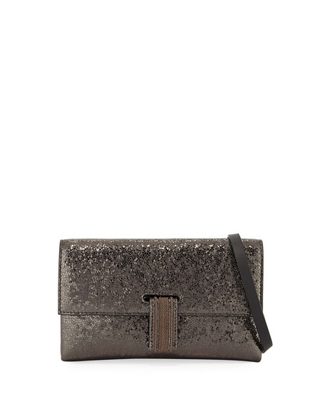 Broken Glass-Effect Wallet On A Chain in Gray